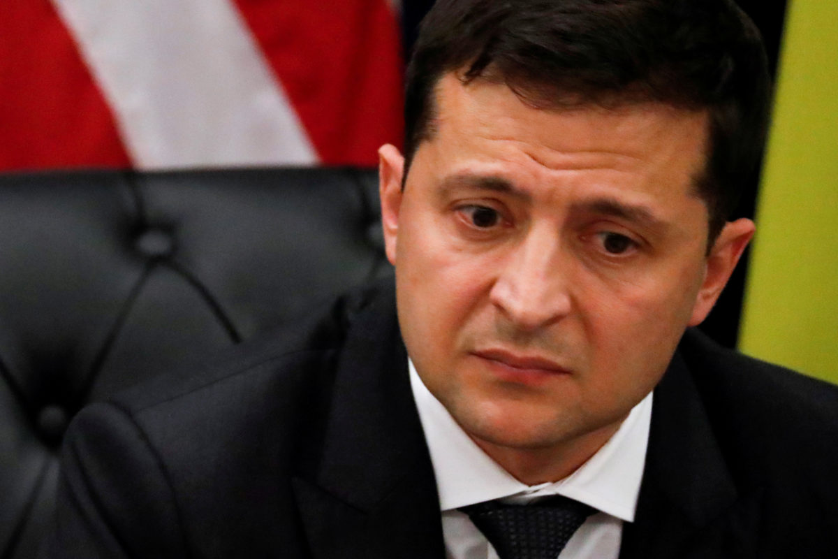 FILE PHOTO: Ukraine's President Volodymyr Zelenskiy listens during a bilateral meeting with U.S. President Donald Trump on the sidelines of the 74th session of the United Nations General Assembly (UNGA) in New York City, on September 25, 2019. Photo by Jonathan Ernst/Reuters