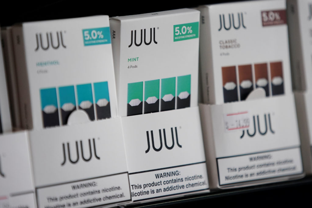 Juul brand vape cartridges are pictured for sale at a shop in Atlanta, Georgia, on Sept. 26, 2019. Photo by REUTERS/Elijah...