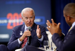 U.S. Democratic presidential candidate and former U.S. Vice President Joe Biden responds to a question from moderator Craig Melvin during a forum held by gun safety organizations the Giffords group and March For Our Lives in Las Vegas, Nevada, October 2, 2019. Photo by Steve Marcus/Reuters