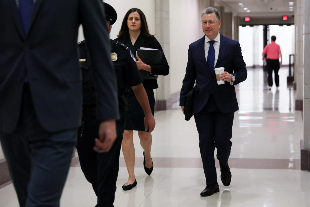 Kurt Volker, U.S. President Donald Trump's former envoy to Ukraine, arrives to be interviewed by staff for three House of Representatives committees as part of the impeachment inquiry into the president's dealings with Ukraine, at the U.S. Capitol in Washington, U.S. October 3, 2019. Photo by Jonathan Ernst/Reuters