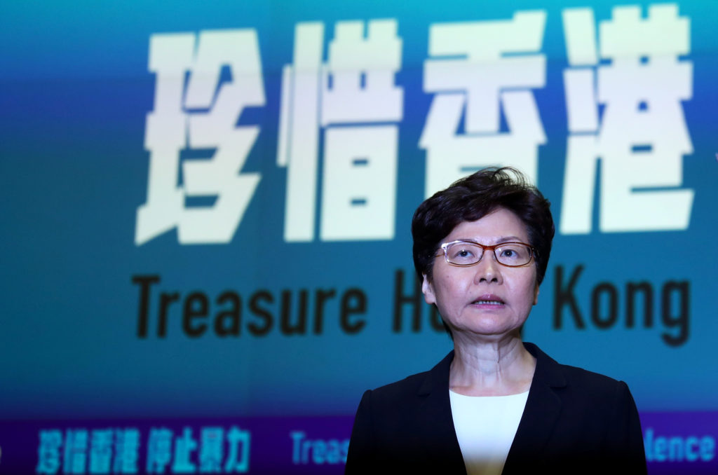 Hong Kong Chief Executive Carrie Lam attends a news conference to discuss sweeping emergency laws at government office in Hong Kong, China October 4, 2019. Photo by Athit Perawongmetha/Reuters
