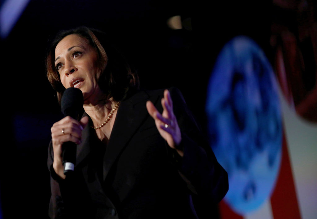 Democratic presidential candidate California Sen. Kamala Harris attends the SEIU's Unions for All summit in Los Angeles, California, October 4, 2019. Photo by Eric Thayer/Reuters