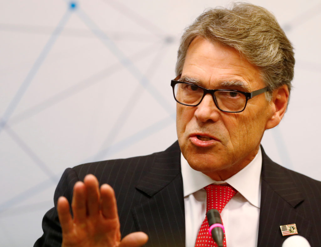 U.S. Secretary of Energy Rick Perry speaks during a news conference…