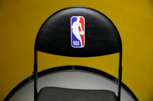 An NBA logo is seen on a chair at an NBA exhibition in Beijing, China October 8, 2019. Photo by Jason Lee/Reuters