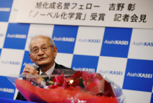 Asahi Kasei honorary fellow Akira Yoshino, 2019 Nobel Prize in Chemistry winner, attends a news conference in Tokyo, Japan October 9, 2019. Photo by Issei Kato/Reuters