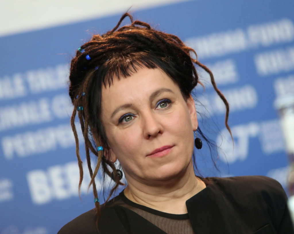 FILE PHOTO: Author Olga Tokarczuk attends a news conference to prom…
