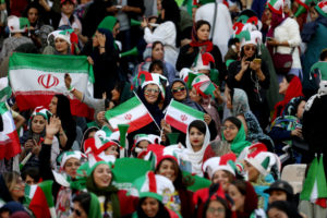 Iranian women fans attend Iran's FIFA World Cup Asian qualifier match against Cambodia, as for the first time women are allowed to watch the national soccer team play in over 40 years. WANA (West Asia News Agency) via Reuters