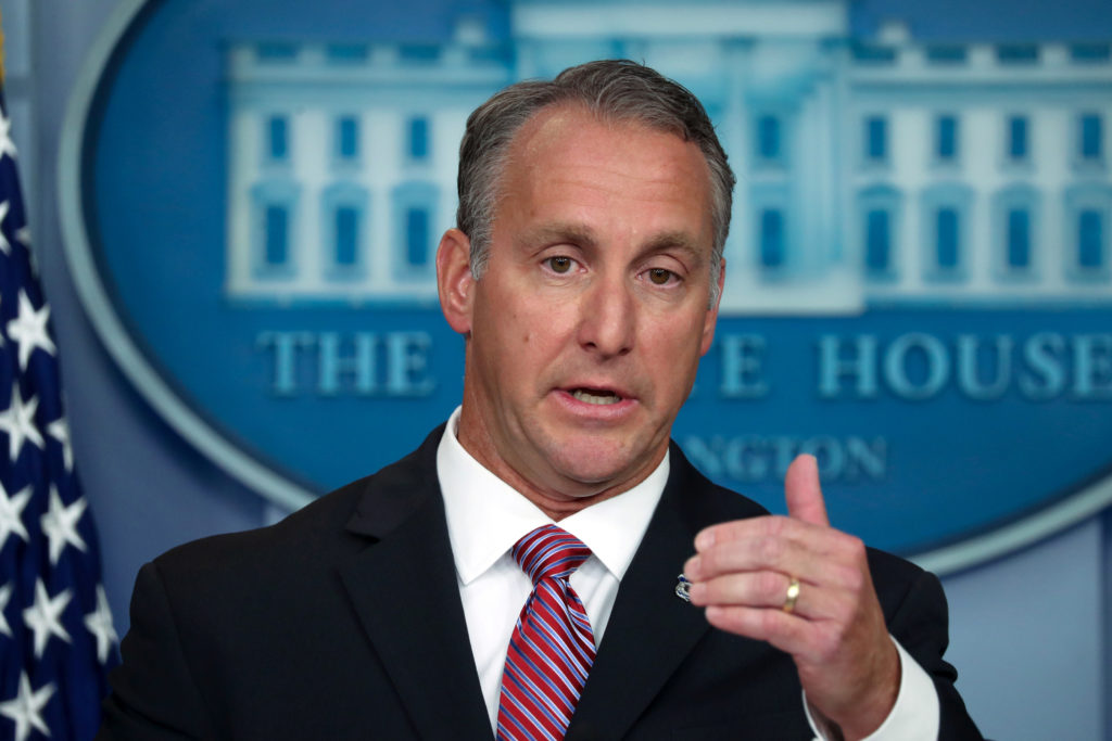 Acting Director of U.S. Immigration and Customs Enforcement (ICE) Matthew Albence briefs reporters at the White House in Washington, U.S. October 10, 2019. Photo by Jonathan Ernst/Reuters