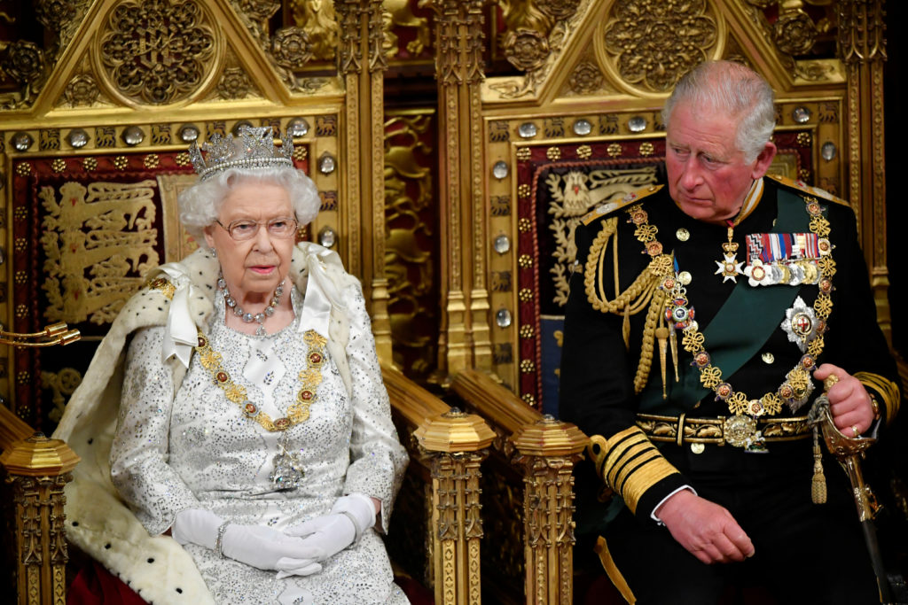 Britain's Queen Elizabeth and Charles, the Prince of Wales are seen ahead the Queen's Speech during the State Opening of Parliament in London, Britain October 14, 2019. Photo by Toby Melville/Pool via Reuters