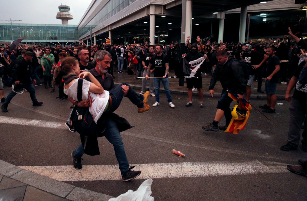 37 injured, 108 flights canceled in Barcelona airport protests