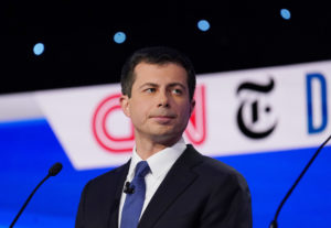 South Bend Mayor Pete Buttigieg listens during the fourth U.S. Democratic presidential candidates 2020 election debate at Otterbein University in Westerville, Ohio, October 15, 2019. Photo by Shannon Stapleton/Reuters