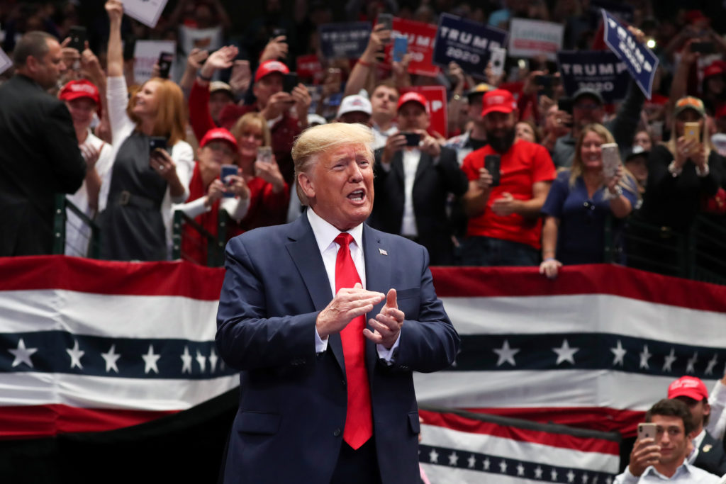 U.S. President Donald Trump rallies with supporters in Dallas, Texas, U.S. October 17, 2019. Photo by Jonathan Ernst/Reuters