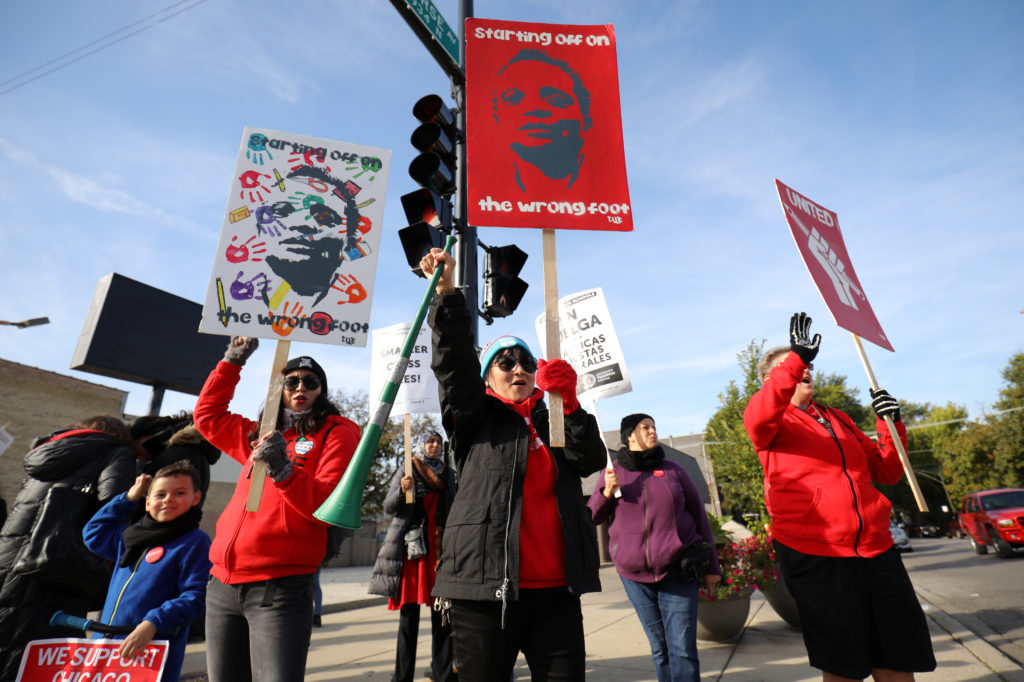 Teachers picket near New Field Elementary School on the second day day of a teachers' strike in Chicago, Illinois, U.S., October 18, 2019. Photo by John Gress/Reuters