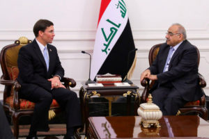 Iraqi Prime Minister Adel Abdul Mahdi meets with U.S. Defense Secretary Mark Esper in Baghdad, Iraq October 23, 2019. Photo by Iraqi Prime Minister Media Office/Handout via Reuters