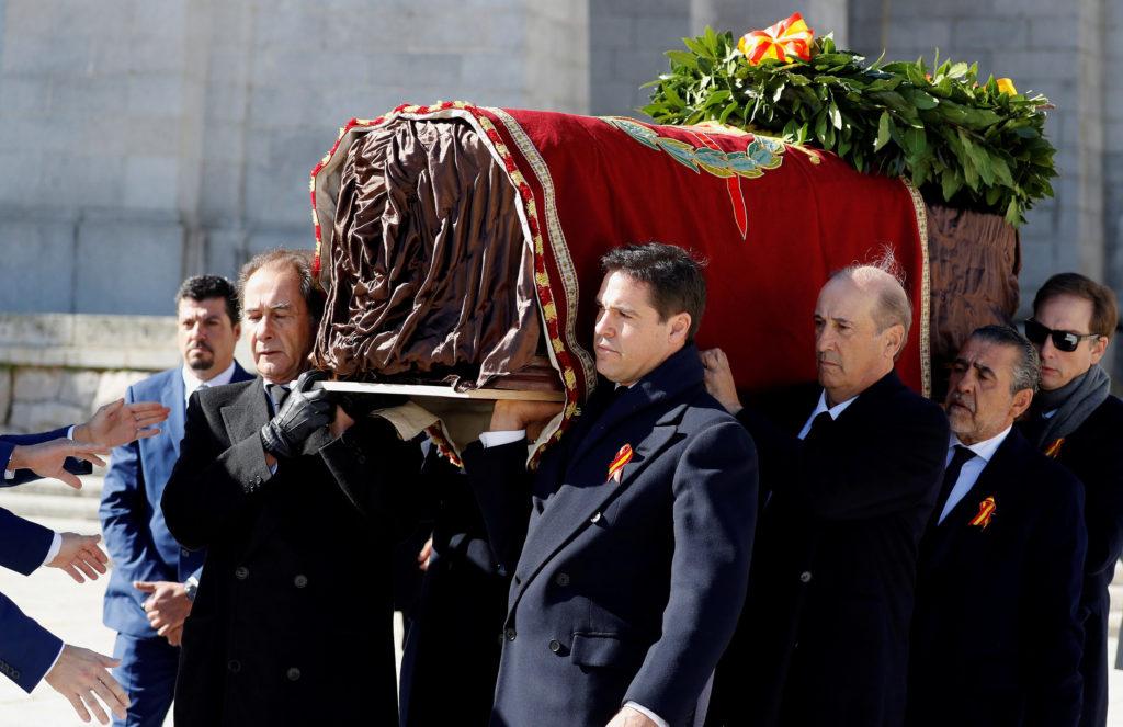 Franco's relatives Jose Cristobal, Luis Alfonso de Borbon Martinez-Bordiu, Francis Franco and Jaime Martínez-Bordiu carry ...