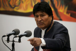 Bolivia's President Evo Morales speaks during a news conference at the presidential palace La Casa Grande del Pueblo in La Paz, Bolivia, October 24, 2019. Photo by David Mercado/Reuters
