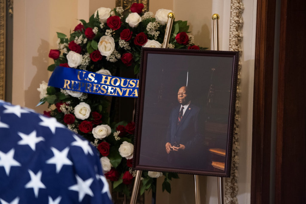 A portrait of the late U.S. Rep. Elijah Cummings (D-Md) sits nearby as his remains lie in state outside the House Chamber at the U.S. Capitol in Washington, U.S., October 24, 2019. Photo by Tom Williams/Pool via Reuters