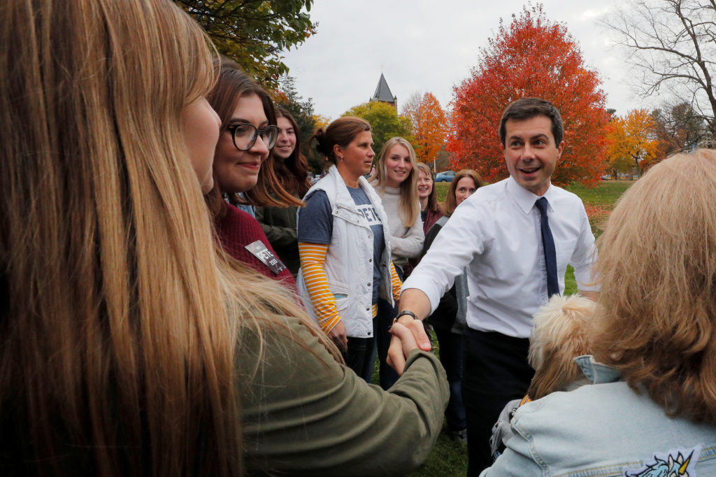 Democratic 2020 U.S. presidential candidate and South Bend Mayor Pete Buttigieg thanks campaign volunteers after a campaig...