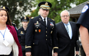 Lt. Col. Alexander Vindman, director for European Affairs at the National Security Council, arrives to testify as part of the U.S. House of Representatives impeachment inquiry into U.S. President Trump led by the House Intelligence, House Foreign Affairs and House Oversight and Reform Committees on Capitol Hill in Washington, U.S., October 29, 2019. REUTERS/Siphiwe Sibeko