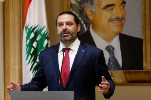 Lebanon's Prime Minister Saad al-Hariri speaks during a news conference in Beirut, Lebanon October 29, 2019. Photo by Mohamed Azakir/Reuters