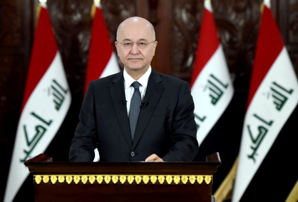 Iraq's President Barham Salih delivers a televised speech to people in Baghdad, Iraq on October 31, 2019. Photo courtesy: The Presidency of the Republic of Iraq Office/Handout via Reuters