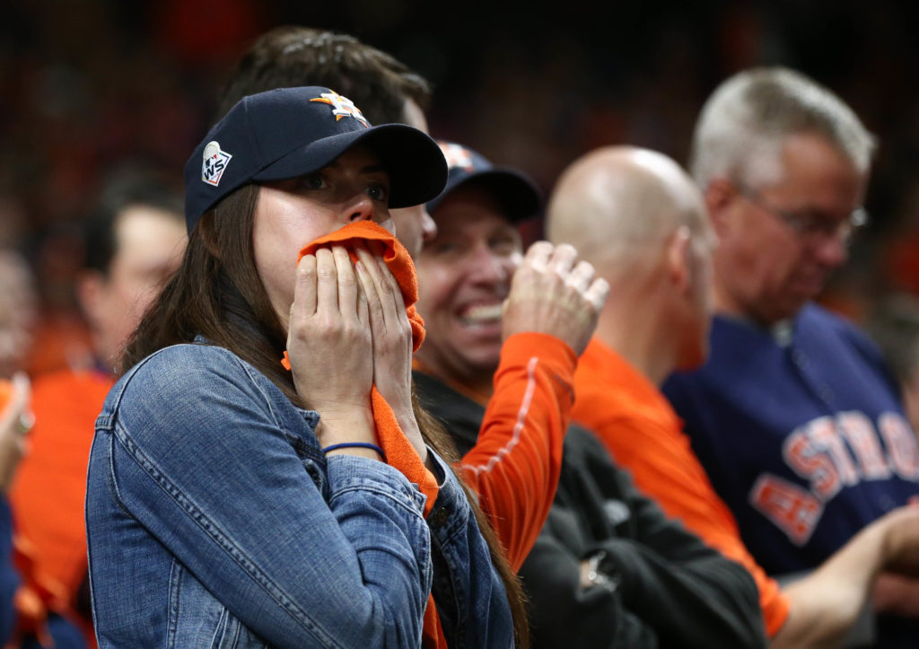 Houston Astros fans react during the eighth inning in game seven of the 2019 World Series against the Washington Nationals at Minute Maid Park. Mandatory Credit: Troy Taormina-USA TODAY Sports