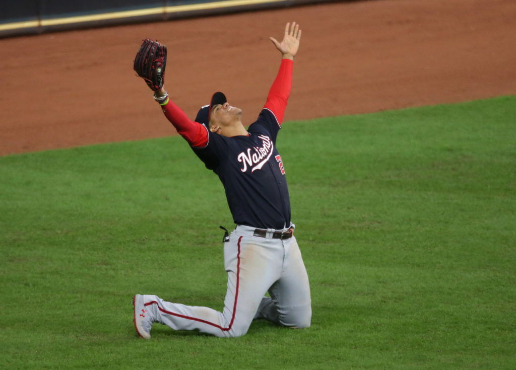 Washington Nationals left fielder Juan Soto (22) celebrates after defeating the Houston Astros in game seven of the 2019 World Series at Minute Maid Park. The Washington Nationals won the World Series winning four games to three. Mandatory Credit: Thomas B. Shea-USA TODAY Sports