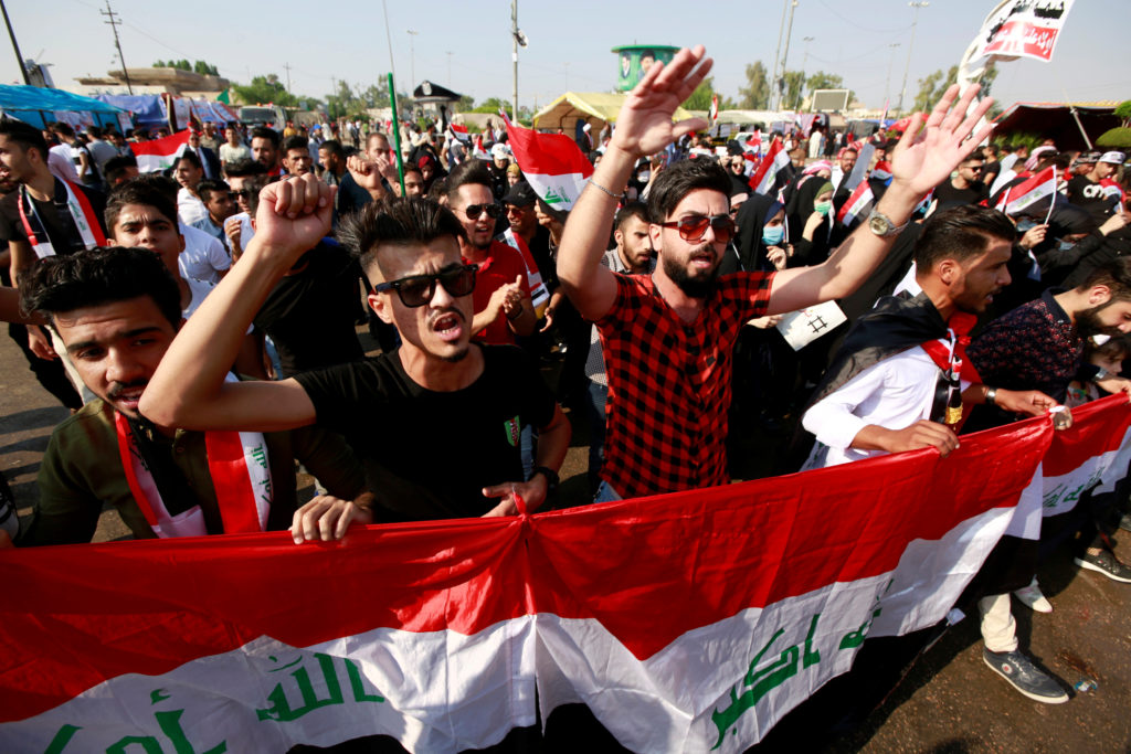 Demonstrators take part in anti-government protests in Najaf, Iraq on October 31, 2019. Photo by Alaa al-Marjani/Reuters