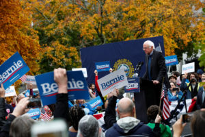 Democratic 2020 U.S. presidential candidate and Sen. Bernie Sanders, I-Vt., speaks at a campaign rally in front of the State House after filing his declaration of candidacy papers to appear on the New Hampshire primary election ballot in Concord, New Hampshire, on Oct. 31, 2019. Photo by REUTERS/Elizabeth Frantz