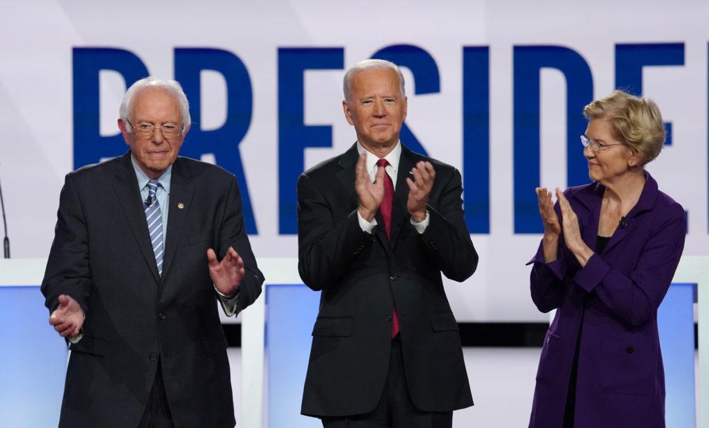 Democratic presidential candidates Senator Bernie Sanders, former Vice President Joe Biden and Senator Elizabeth Warren ap...