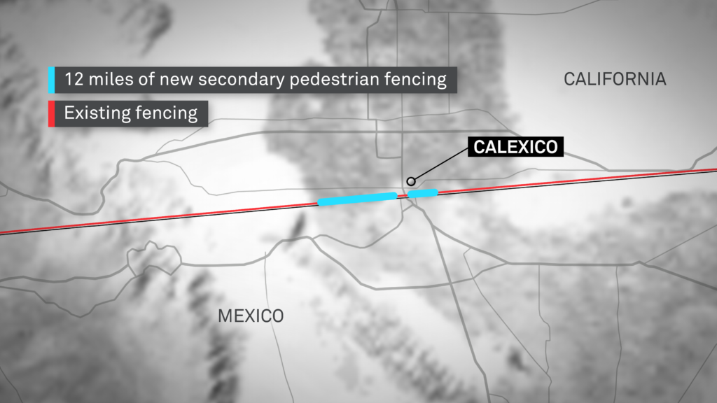 An approximation of El Centro Project 9 that is expected to be funded with Defense Department dollars. The project promises 12 miles of new secondary pedestrian fencing. Graphic by Daniel Davis
