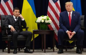 President Trump and Ukrainian President Volodymyr Zelensky in New York at the United Nations General Assembly. Photo by Saul Loeb/Getty Images.