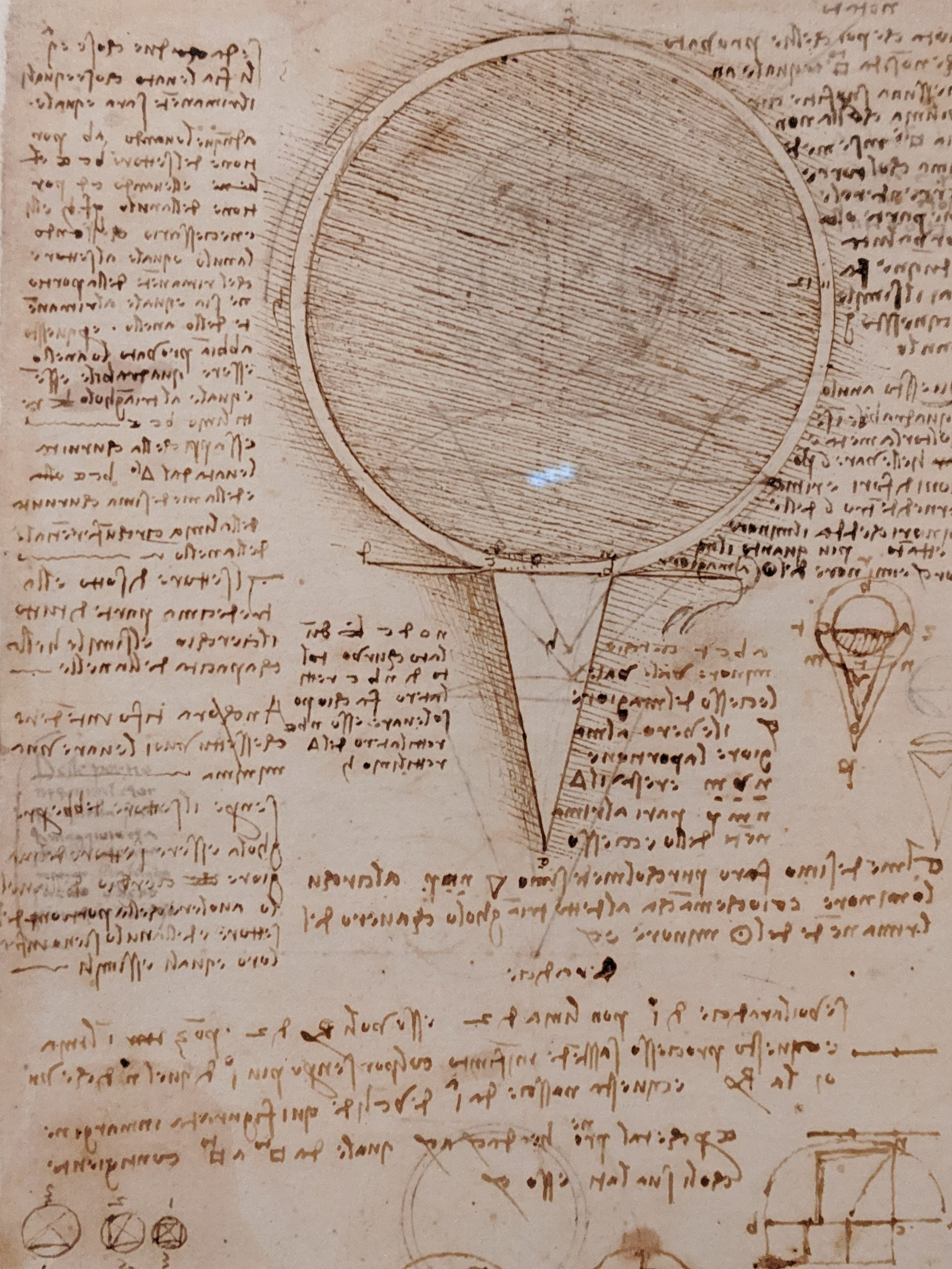 A closer look at a page of da Vinci's notes. Photo by Joshua Barajas/PBS NewsHour