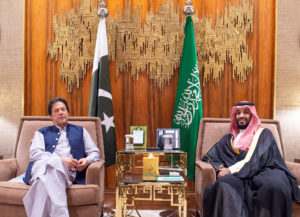 Saudi Arabia's Crown Prince Mohammed bin Salman meets with Pakistani Prime Minister Imran Khan in Riyadh, Saudi Arabia, October 15, 2019. Photo by Bandar Algaloud/Courtesy of Saudi Royal Court/Handout via REUTERS