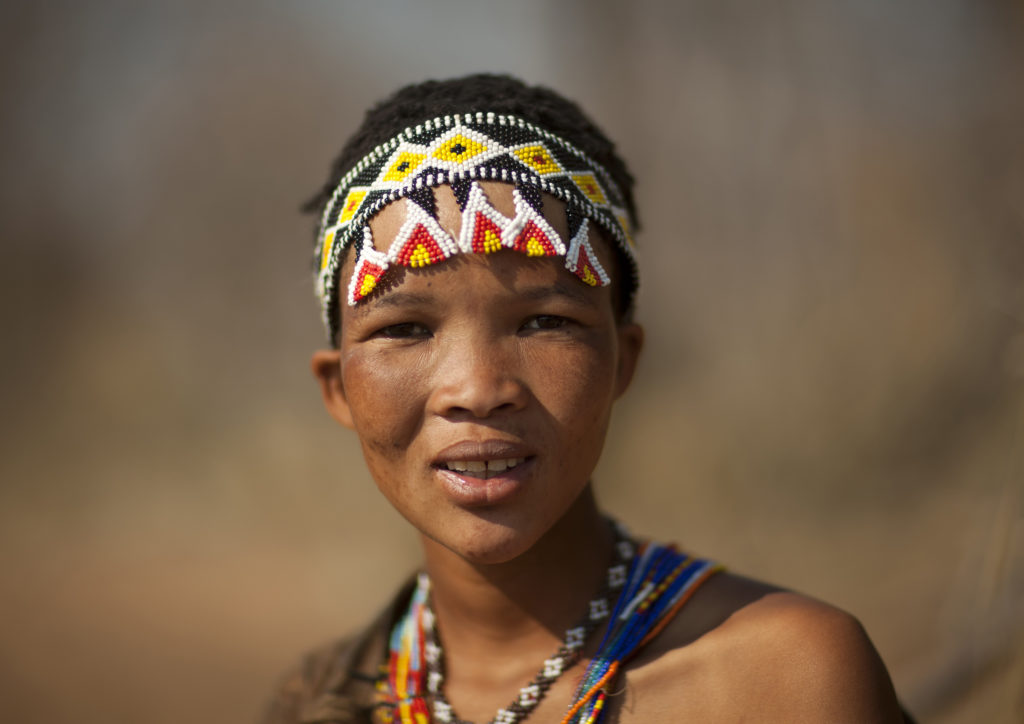 A Khoisan woman in Namibia on August 22, 2010 are an ethnic group of southwest Africa. They live in the Kalahari Desert across the borders of Botswana, Namibia, Angola and South Africa. Most live in Botswana. They have a foraging lifestyle based on the hunting of wild animals (usually with bows and poison arrows and spears) and the gathering of veld food. Their lifestyle is particularly adapted to the hard conditions of the Kalahari Desert. Photo by Eric LAFFORGUE/Gamma-Rapho via Getty Images