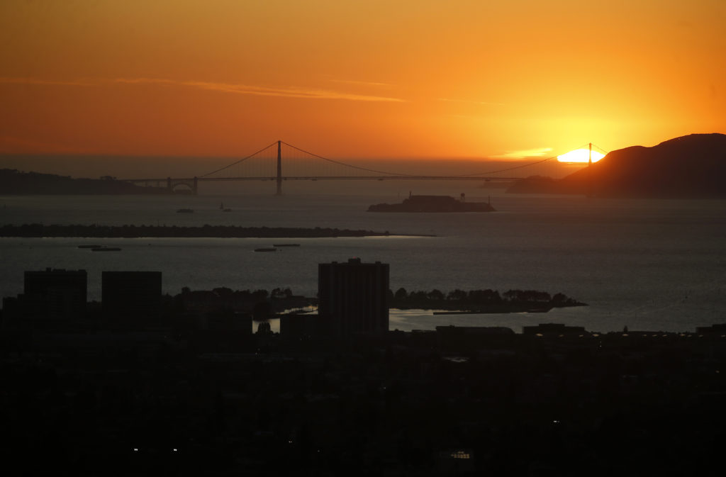 The sun sets over the Marin Headlands and Golden Gate Bridge in this view from Hiller Drive in Oakland, Calif., on Wednesday, Oct. 9, 2019. This area was the scene of the devastating 1991 Oakland firestorm. Photo by Jane Tyska/MediaNews Group/The Mercury News via Getty Images