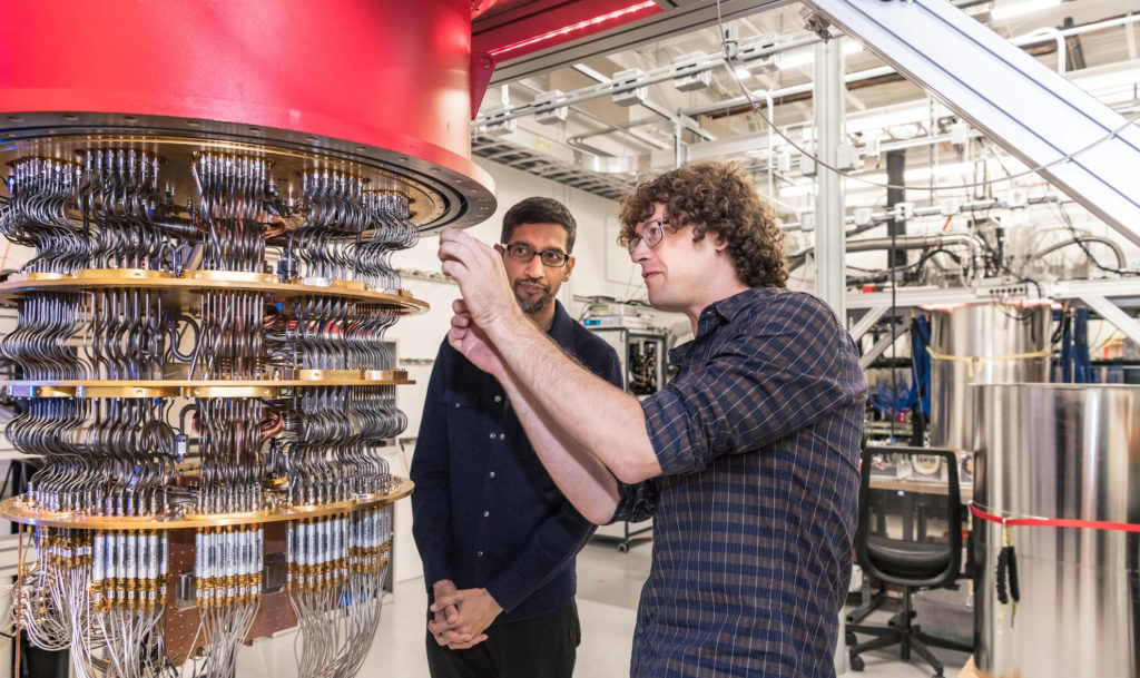 A handout picture from October 2019 shows Sundar Pichai and Daniel Sank (right) with one of Google's Quantum Computers in ...