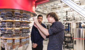 A handout picture from October 2019 shows Sundar Pichai and Daniel Sank (right) with one of Google's Quantum Computers in the Santa Barbara lab, California, U.S. Photo by Google / Handout via REUTERS