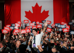 Liberal leader and Canadian Prime Minister Justin Trudeau takes part in a rally as he campaigns for the upcoming election, in Milton, Ontario, Canada, on October 19, 2019. Photo by Stéphane Mahé/Reuters