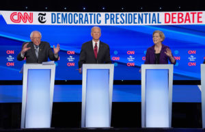 Democratic presidential candidate Senator Bernie Sanders, former Vice President Joe Biden and Senator Elizabeth Warren debate during the fourth U.S. Democratic presidential candidates 2020 election debate in Westerville, Ohio, U.S., October 15, 2019. Photo by REUTERS/Shannon Stapleton