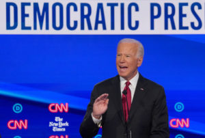 Democratic presidential candidate and former Vice President Joe Biden speaks during the fourth U.S. Democratic presidential candidates 2020 election debate in Westerville, Ohio, U.S., October 15, 2019. REUTERS/Shannon Stapleton