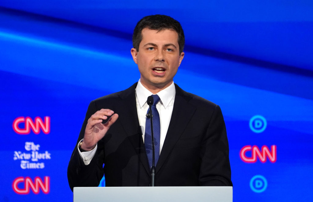 Democratic presidential candidate South Bend Mayor Pete Buttigieg speaks during the fourth U.S. Democratic presidential candidates 2020 election debate at Otterbein University in Westerville, Ohio U.S., October 15, 2019. REUTERS/Shannon Stapleton
