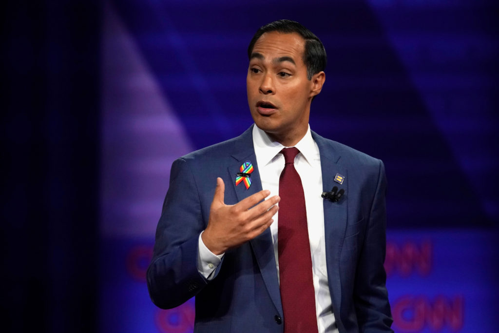 Democratic 2020 U.S. presidential candidate Julian Castro gestures during a televised townhall on CNN dedicated to LGBTQ issues in Los Angeles, California, U.S. October 10, 2019. Photo by Mike Blake/Reuters