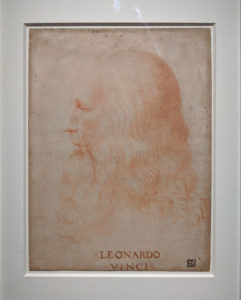 """Portrait of Leonardo da Vinci,"" by Francesco Melzi. Photo by Joshua Barajas/PBS NewsHour"