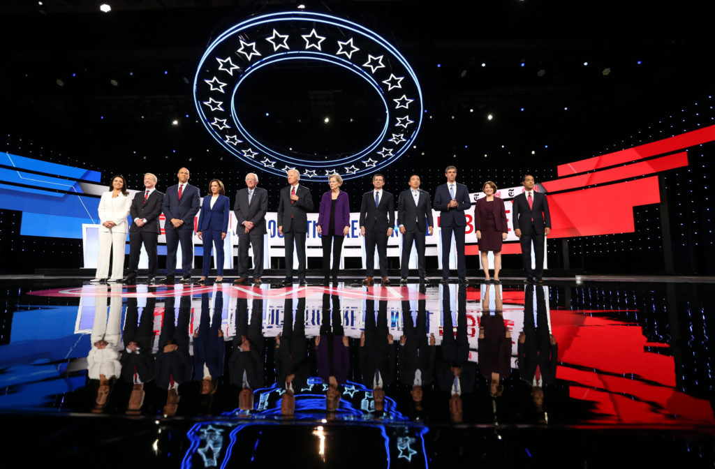 Democratic presidential candidates Rep. Tulsi Gabbard, billionaire activist Tom Steyer, Senator Cory Booker, Senator Kamal...