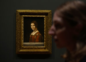 "The lady in Leonardo da Vinci's ""La Belle Ferronniere,"" perhaps second only to the ""Mona Lisa,"" carries a trademark inscrutable expression. Photo by Joshua Barajas/PBS NewsHour"