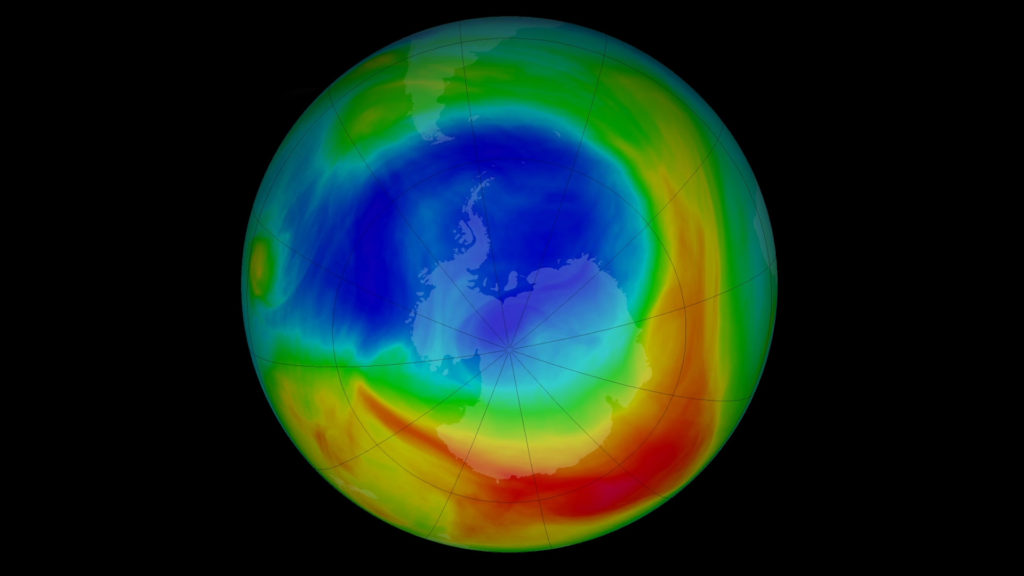An image of the South Pole's ozone hole taken Sep. 8, 2019. Courtesy: Goddard Space Flight Center/NASA