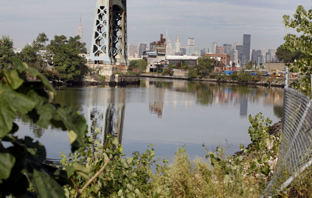 FILE PHOTO: The Newtown Creek is seen in the Queens Borough of New York. Newtown Creek is a waterway approximately 3.5 mil...
