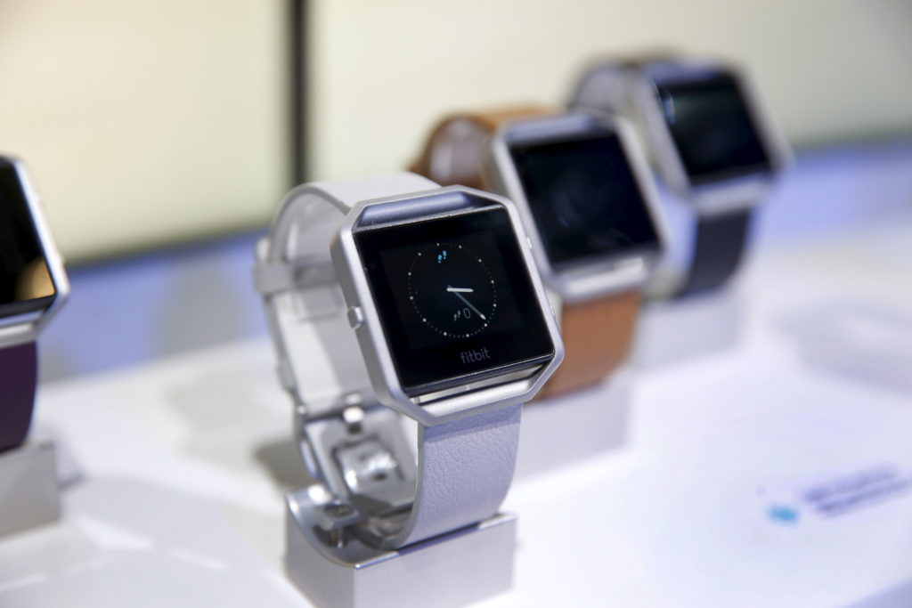 Fitbit Blaze watches are displayed during the 2016 CES trade show in Las Vegas, Nevada January 6, 2016. Photo by Steve Marcus/Reuters.