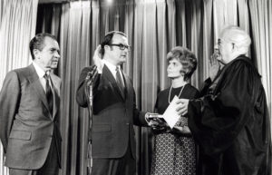 William Ruckelshaus is sworn in as the first Environmental Protection Agency Administrator by Chief Justice Warren Burger as Jill Ruckelshaus and President Richard Nixon look on, December 4, 1970. Courtesy The Nixon Library and Museum/Handout via REUTERS